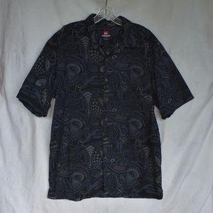 Quicksilver tribal aloha shirt black size XL #A306